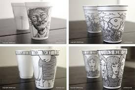 Styrofoam Coffee Cup Sharpie = Art