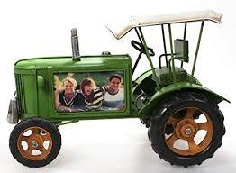 metall traktor mit dach als bilderrahmen grün 27 cm blech modell schlepper trecker deutz fahr