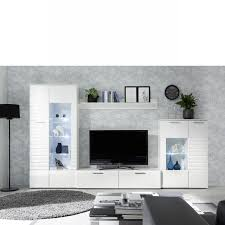 wohnwand new weiß weiß hochglanz 4 teilig inkl led beleuchtung anbauwand
