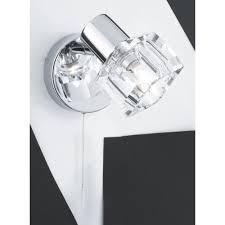 single polished chrome wall light with clear glass cube shade