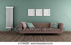grün und braun altmodisch wohnzimmer stock illustration