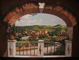 Tuscan Vineyard Lanndscape Mural Complimented With Faux Finish