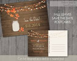 Rustic Fall Save The Date Postcard Or Card Printable Template Mason Jar Country Barn Wood Leaves Wedding DIY