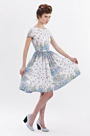 1950s Floral Dress Tea Party Women 50s Retro Prom Vintage Inspired Blue Style Handmade