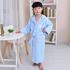 100 Cotton Bamboo Bathrobe With Hooded Boys Kids Bath Robe Thicken Long Sleeve Baby Robes