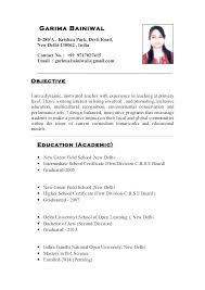 Sample Of Teaching Resume Istant Example Primary School