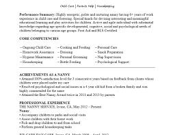nanny resume sles hospitality resume sle writing guide