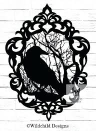 Cameo Crow Paper Cutting Template Raven Silhouette Designs Illustration Templates Simple Easy
