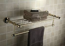 antique brass ti pvd wall mounted bathroom shelf with towel bar