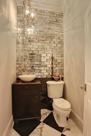 Mirrored Subway Tiles Accent Wall Great For Small Or Half Bath