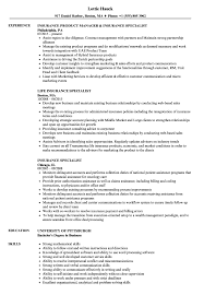 Download Insurance Specialist Resume Sample As Image File