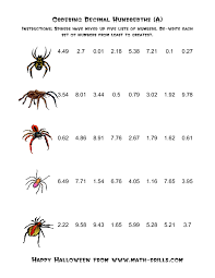 Halloween Multiplication Worksheets Grade 3 by Spiders Ordering Decimal Hundredths A