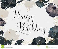 happy birthday card black white roses gold glitter
