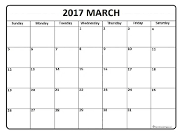 2017 March Calendar Printable And Free Blank