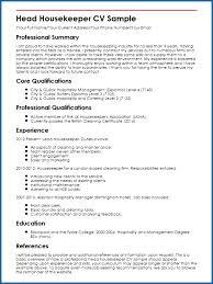 Head Housekeeper Cv Sample Housekeeping Resume Gtteix Best Of Example Template