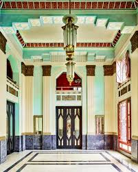 the colors and architectural elements deco lobby
