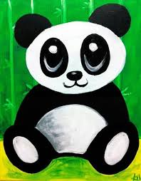 Cute Panda Canvas Paint Idea For Wall Decor Bear Painting