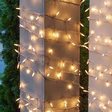 Columns On Front Porch by Christmas Net Lights 6