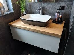 waschtisch platte bret konsole ablage holz eiche baumkante bad wc