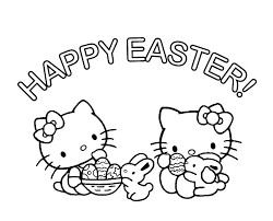 Happy Easter Coloring Sheets Hello Kitty Pages Bunny