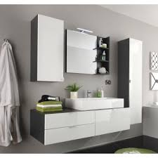 modernes komplett badmöbelset hochglanz weiß grau inkl aufsatzbecken