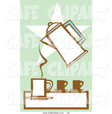 Vector Clip Art Of A Coffee Percolator Pouring Into Cup Over Star On Green