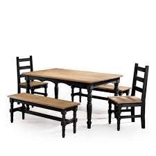 Manhattan Comfort Jay 5 Piece Black Wash Solid Wood Dining Set With 2 Benches