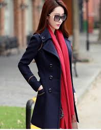 woolen women u0027s overcoat lapel neck slim double breasted belt long