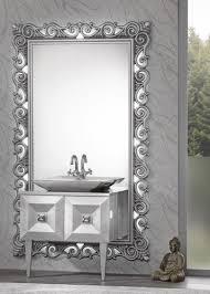 casa padrino luxus barock badezimmer set silber waschtisch mit waschbecken und wandspiegel prunkvolle badezimmermöbel im barockstil