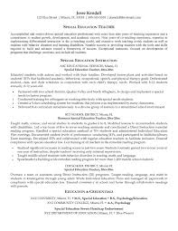 Resume Examples Templates Special Education Teacher Cover Letter For Position
