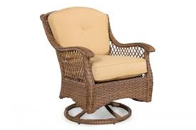 curved arm casual patio swivel rocker chair in brown mathis