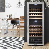 klarstein vinamour 54d weinkühlschrank getränkekühlschrank gastro kühlschrank 2 zonen 148 liter 54 flaschen 8 holzeinschübe led beleuchtung