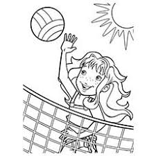 Barbecue Girl Playing Beach Volleyball In Summer Climate Picture To Color