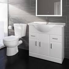 Crosby Toilet 850mm Quartz Basin Cabinet Set Gloss White