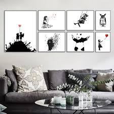 großhandel banksy schwarz modern abstrakt kunstdruck poster wandbild wohnzimmer leinwand malerei kein rahmen wohnkultur hymen 18 14 auf