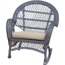 Jeco Inc Wicker Rocker Chair With Cushions Wayfair White Outdoor ...