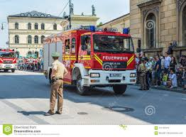 Fire Truck Parade In Munich, Germany Editorial Stock Image - Image ...