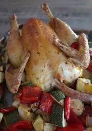 cuisine recette poulet poulet et légumes d été rôtis au four