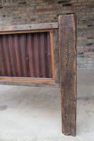Rustic Headboard With Wood And Corrugated Tin