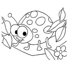 Smiling Ladybug With Offspring Coloring Page