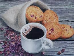 Coffee And Cookies Color Pencils Drawing Ekaterina Putiatina