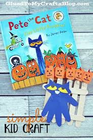 Preschool Halloween Books Activities by Pete The Cat Five Little Pumpkins Kid Craft Idea Cat Craft