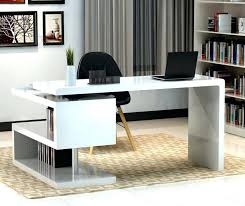 Black Gloss Corner Computer Desk by Home Office White Desk Adjustable Height Combined Furniture
