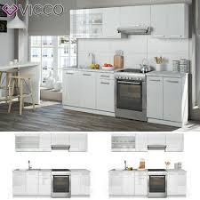 vicco küche raul küchenzeile küchenblock einbauküche 240 cm weiß hochglanz ebay
