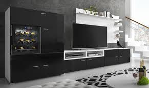 moderne wohnwand mit kühlschrank weinkühlregal mattweiß mit schwarzer front maße 295 x 175 x 57 40 cm tiefe