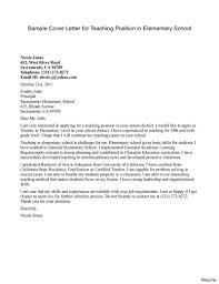 Sample Cover Letter For Elementary Teacher Tomyumtumweb Cover Letter