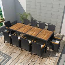 Details About 11 Pieces Outdoor Patio Rattan Wicker Dining Table Chair Set  10Cushions US D4B8