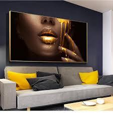 großhandel 1 stück large wall bilder wohnzimmer frauen gesicht mit goldener flüssigkeit hauptdekor poster hd leinwand gemälden ziyu168 44 66