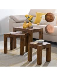 finebuy 3er set satztisch massiv holz wohnzimmer tisch landhaus stil beistelltisch braun naturholz klingel