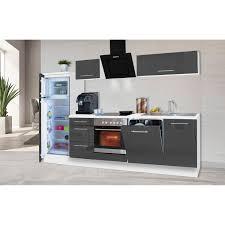 respekta premium küchenzeile 280 cm grau hochglanz weiß